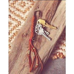 Free People Leather wrapped safety pin keychain